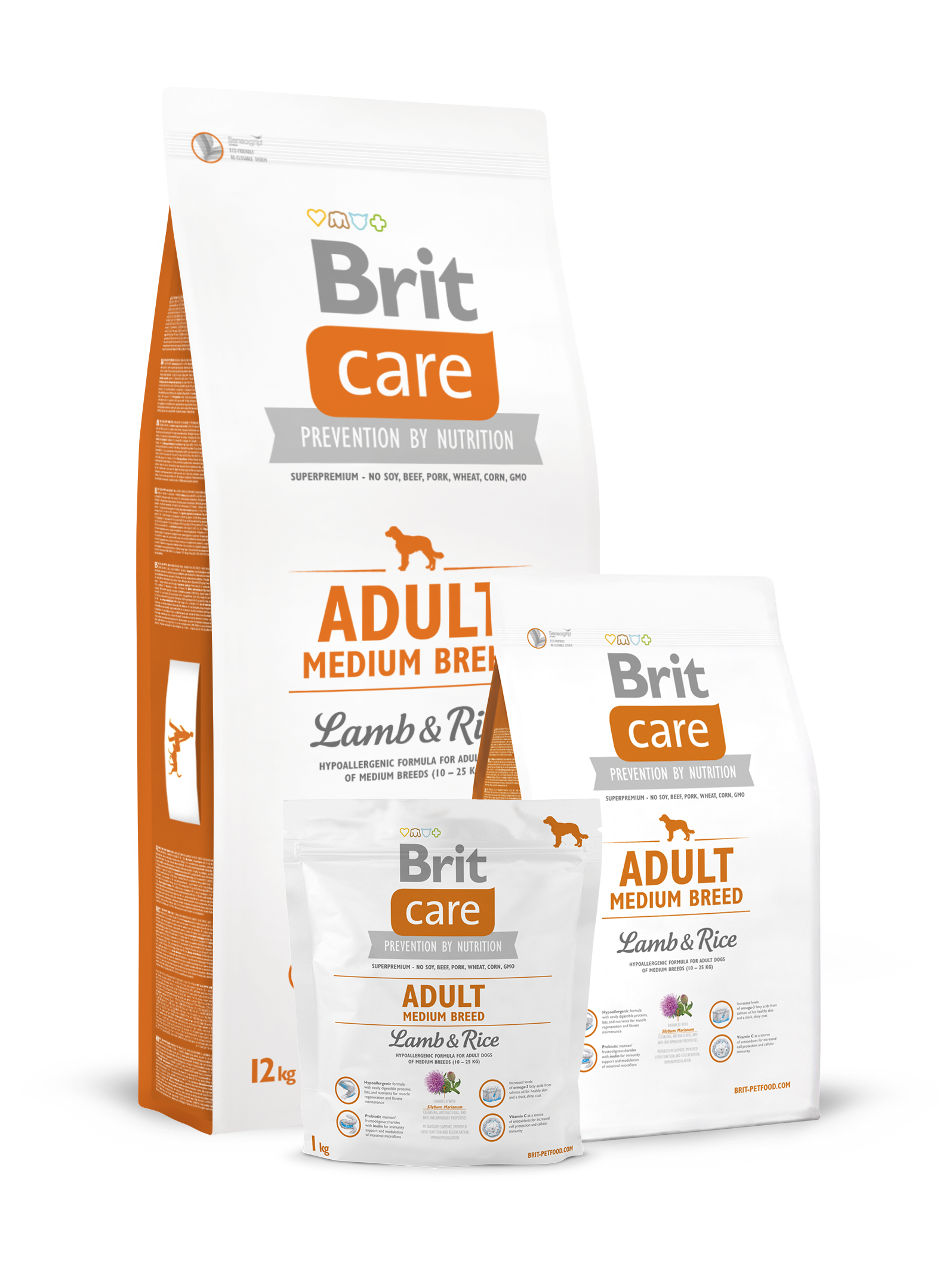 Brit Care Dog adult medium 12.0 ягненок рис (д/средних пород) сухой д/собак